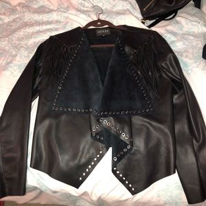 Guess black leather jacket with tags